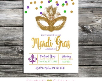 Printable Mardi Gras Invite, Mardi Gras Invitation, Digital Invite, Mardi Gras Birthday Invitation, Mardi Gras Celebration, Mardi Gras