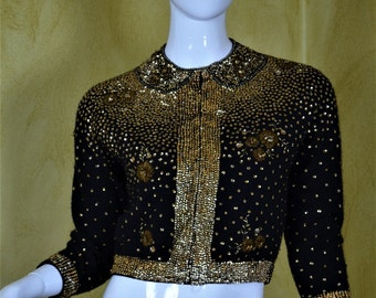 """1950s Brilliant Gold Beaded & Sequined Cashmere Cardigan Bust 38"""""""