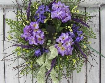 Spring Wreath - Mothers Day Wreath - Spring Summer Wreath - Purple Wreath - Twig Hydrangea Wreath - Hydrangea Wreath - Rustic Twig Wreath