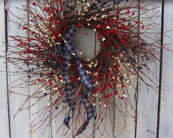 Memorial Day Wreath - Primitive Patriotic Wreath - Patriotic Wreath - 4th of july Wreath - Americana Wreath - Summer Wreath - July Wreath