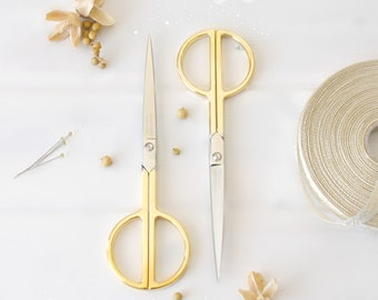 "Large Gold Scissors - Large Shears - Large Gold Scissors - Large Sharp Scissor - Wool Felt Scissors - 7.25"" Scissors - Elegant Gold Scissors"