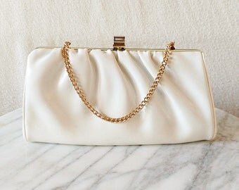 Vintage White Vinyl Gathered Clutch