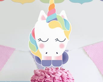 Rainbow Unicorn Cake Topper DIY Printable Party Sign INSTANT DOWNLOAD