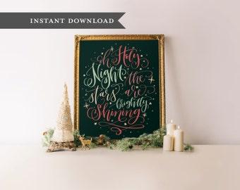 Calligraphy printable, Christmas print, Printable christmas art, Christmas wall art, Holiday printable, Printable art, Christmas printable