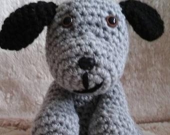 grey and black crocheted dog/plushie/amigurumi,sitting down dog-crochet dog