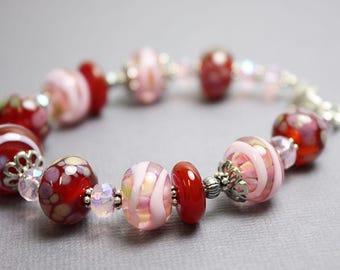 Sangria Red and Pink Lampwork Bracelet, Red Bracelet, Lampwork Bracelet, Pink Glass Bracelet, Pink Beaded Bracelet, Bracelet, Kathy Bankston