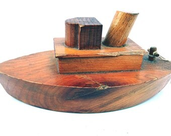 Toy Ship Toy Boat Model Vintage Wood Ship Child's Play Toy Wooden Boat Wood Boat