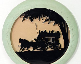 Silhouette Reverse Painted Round Wall Decor Horse Coach and Passengers
