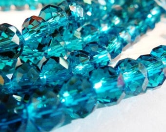 36pcs 6x8mm Blue Crystals Beads 8mm TEAL BLUE Rondelles Non-Ab Like 8x6mm INDICOLITE Blue Zircon #5040 Swarovski Crystals Diy Jewelry Making