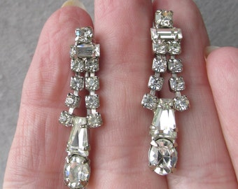 1950's Vintage Signed Weiss Dangle Rhinestone Earrings