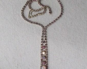 Superb Vintage Unsigned WEISS Purple & Pink Rhinestone TIE Necklace