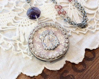 Rhinestone assemblage locket religious locket rhinestone necklace purple locket