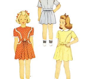McCall 5205 Girl's Vintage 1940s Dress and Panties Sewing Pattern