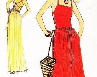 Very Easy Vogue 7384 Open Back Camisole Strap Halter Cocktail or Evening Dress Sewing Pattern