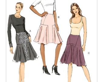 Vogue V9031 Misses' Set of Figure Flattering Skirts With Seam Interest and Shaped Hemline Sewing Pattern