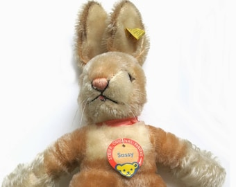 Steiff Baby Rabbit Sassy Mohair with squeaker | Vintage 1968- 1977 |  with all Ids