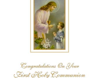 First Communion Card - Boy