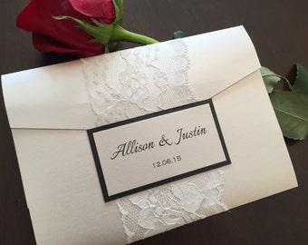 Pocketfold Invitation, Lace Pocketfold, Wedding Invitation, Wedding Invite, Lace Pocketfold Invitation, ALLISON