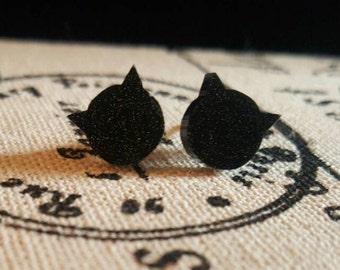 Black glittery cat earrings