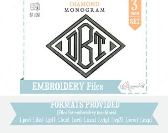 """3"""" Diamond Monogram Font: Embroidery Design/ Files for instant download for embroidery machines Diamond BX Font"""