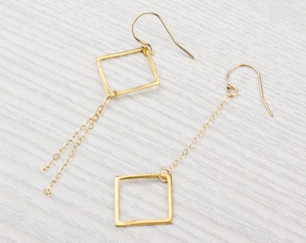 Square Earrings • Long Gold Earrings • Gold Dangle Earrings • Boho Earrings • Geometric Earrings • Bridesmaid Earrings | 0088EM