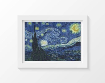 Cross Stitch Kit The Starry Night by Vincent van Gogh, Landscape Cross Stitch, Embroidery Kit, Needlework DIY Kit (VGOGH07)