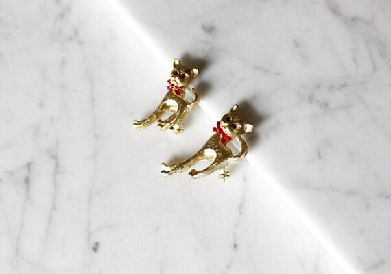 1980s gold cat brooch // cat brooch // vintage brooch