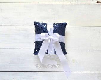Navy Sequin Ring Bearer Pillow with White Satin Bow