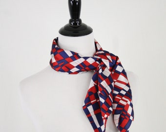 1970s Red White Blue Crazy Squares Acetate Square Scarf