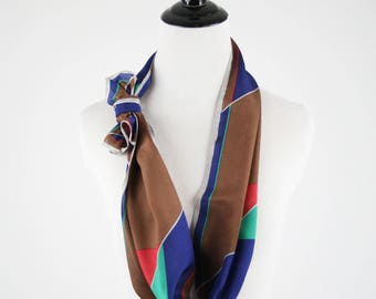 1970s Vera Color Block Silk Oblong Scarf Made in Japan