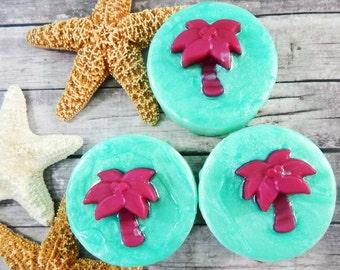 Island Coconut Soap - Glycerin Soap - Tropical Party Favor - Tropical Birthday Gift - Tropical Decor - Beach Decor - Beach Party Gift