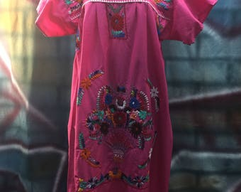 Ladies Pink Embroidered Mexican Dress