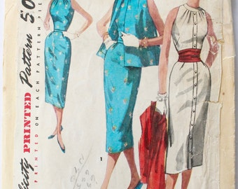 Vintage Sewing Pattern 1950s Women's High Neck Button-Front Wiggle Dress Sewing Pattern Size 14 Bust 32 Simplicity 1651