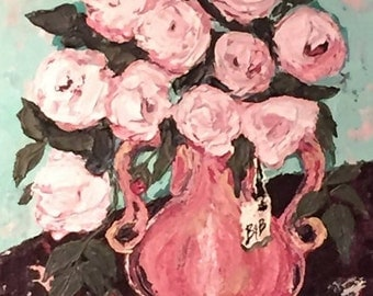 Original Impasto Painting/Still Life/ Roses in Vase/Contemporary Abstract Palette Knife Flower Painting/Collectable Art/@IndigoLayne
