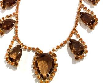 Stunning Vintage Tear Drop Necklace Large Rootbeer Teardrop Stones Amber Rhinestone accents Vintage Bride Mid Century Hollywood Glamour
