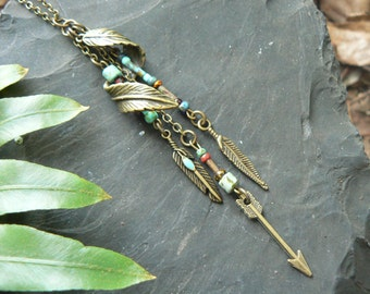 tribal necklace feather necklace czech beads festival necklace boho necklace in gypsy hippie hipster native pow wow boho chic hippie gypsy