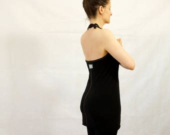 Hand stitched Yoga Halter Top - Organic Bamboo/Cotton Jersey black or white
