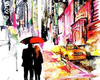New York City Love Watercolor Painting - Wanderlust by Lana Moes - NYC for Two - Travel Illustration - Red Umbrella Art - Giclee Art Print
