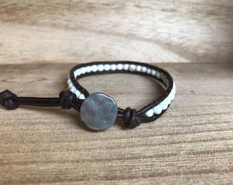 White Turquoise Single Wrap Bracelet