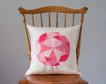 Pink Pillow - Pink Diamond Jewel, Quilted Gem - Pillow Cover