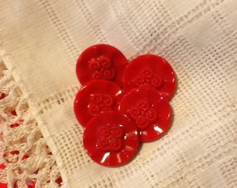 Czech Red with four swirls Glass Vintage Buttons -18 mm