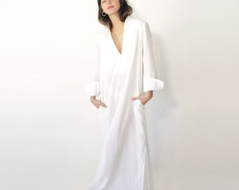 Linen Dress, White Kimono Dress, Plus Size Clothing, White Linen Dress, Maxi Kimono, Plus Size Linen Dress, Linen Wedding Dress, Maxi Kaftan