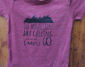 """12 months- Maroon Graphic Print Baby Bodysuit in """"The Mountains Are Calling And I Must Go"""", bodysuit onesie infant toddler, Hipster Style"""