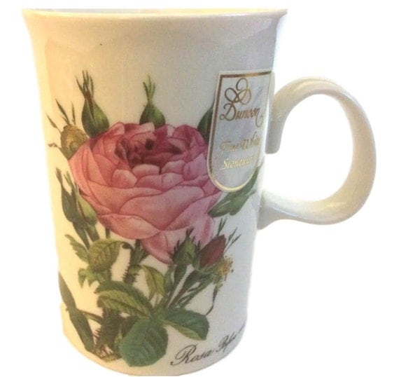 Cute Mugs for Her, Dunoon Stoneware Coffee Mug with Roses, Christmas Gift, Stoneware Mug, Gifts for Her