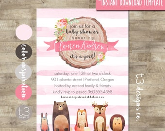 Woodland Baby Shower Invitation Printable, Instant Download. DIY PDF, woodland baby shower, forest animals, fall baby shower, baby girl
