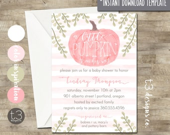 Girl Little Pumpkin Baby Shower instant download diy pdf, fall baby shower, watercolor, little pumpkin is on her way, 14727