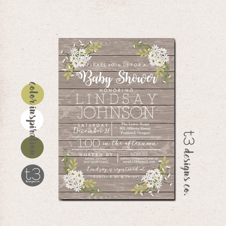 Rustic Daisy Baby Shower Invitation Gender Neutral Baby Shower