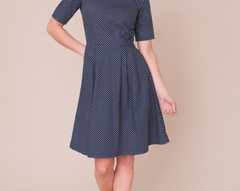 Navy spotty dress with peter pan collar