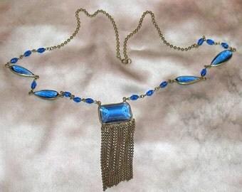 1920s Necklace, 1930s Long Blue Art Nouveau Necklace, 1920s, 1930s, Czech Necklace, 30s Necklace, Czech Flapper Necklace, Art Deco Necklace