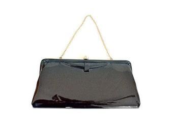 1950s purse, black 50s purse, patent leather purse, patent leather bag, vintage purse, vintage bag, 1960s purse, 60s purse, black clutch